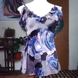 Rebecca Taylor Silk Gray Floral Frilly Tank Top